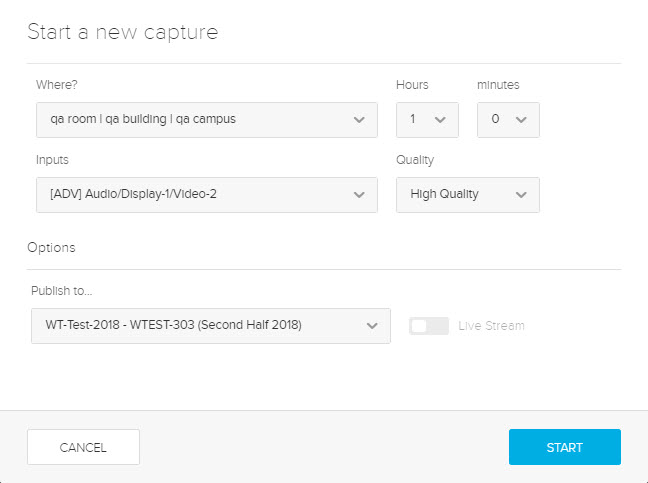 Start a new capture dialog box with options as described