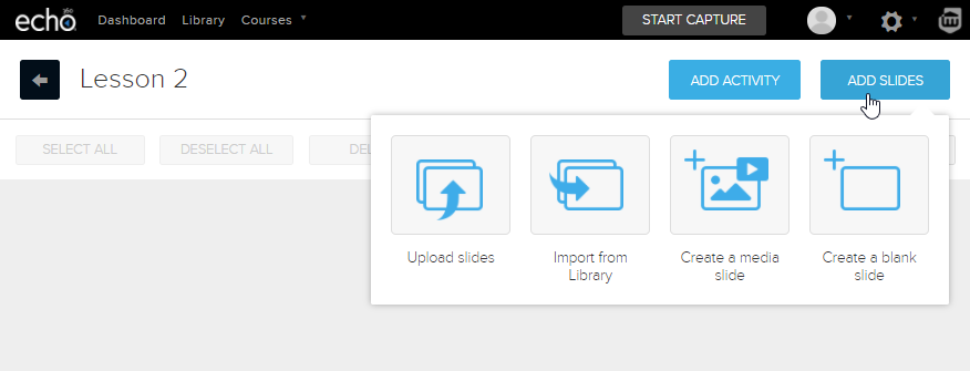 Add slide to existing presentation option with selections as described