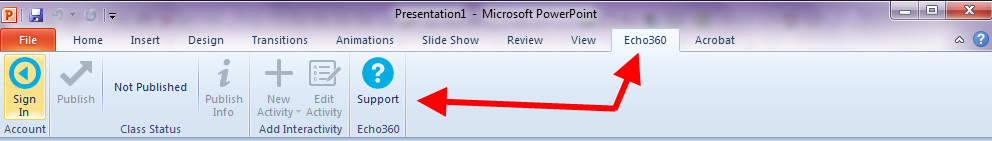 Powerpoint ribbon with user signed in and interactivity options enabled as described