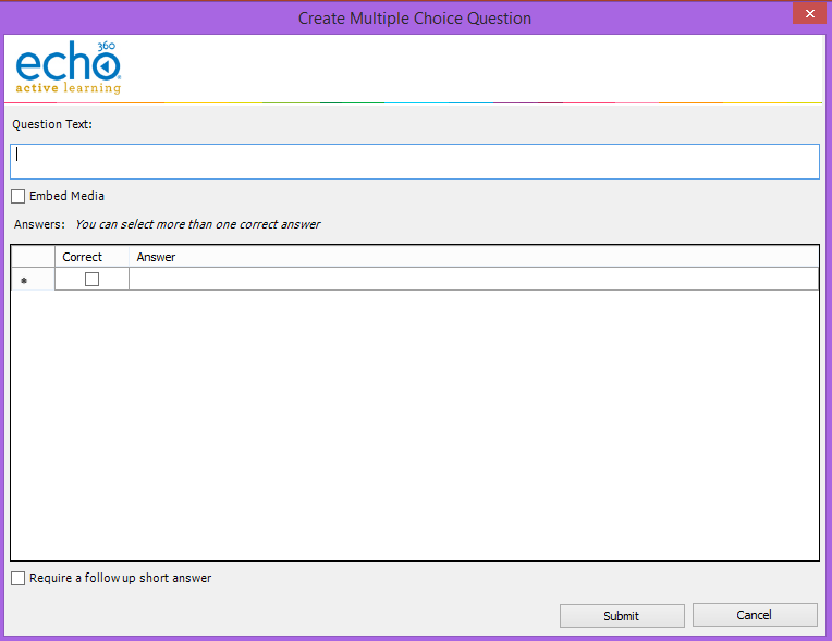 Create multiple choice question dialog box with options as described