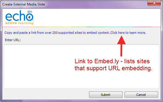 Create external media slide dialog box with link to Embedly site and ability to paste embeddable URL as described