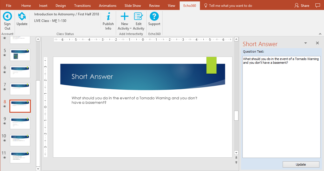 editing free response activity slide in powerpoint as described