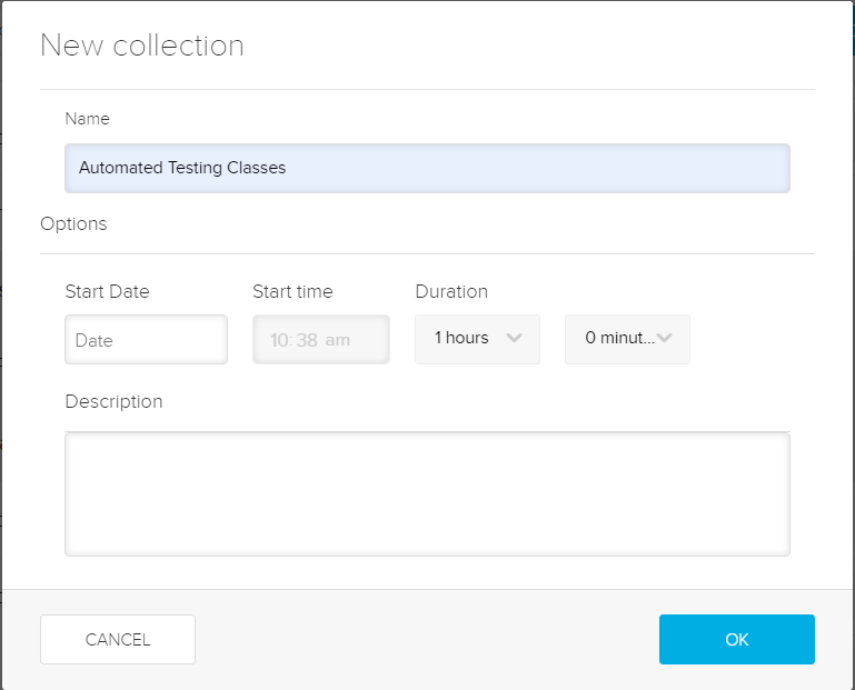 Create a new collection dialog box for steps as described