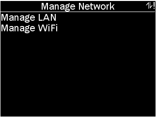 Manage network menu for POD with options as described