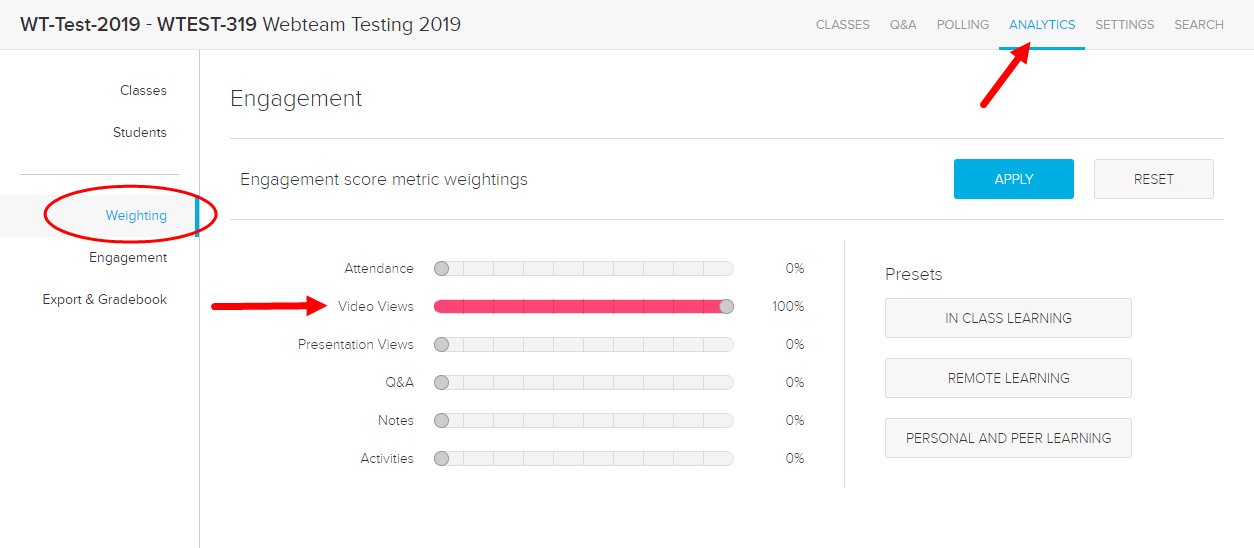 Analytics page with Weighting tab shown and video views set as 100% of engagement scoring