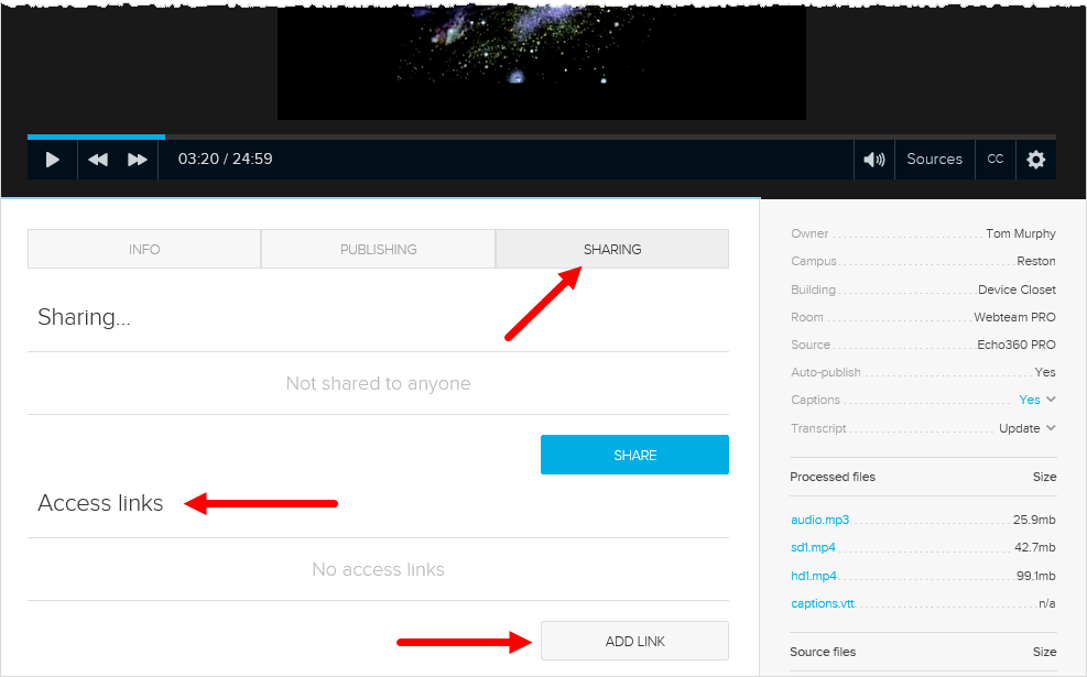 content details page with sharing tab and Add Link button shown for steps as described