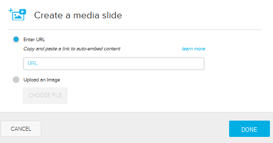 Create a media slide dialog box with options for steps as described
