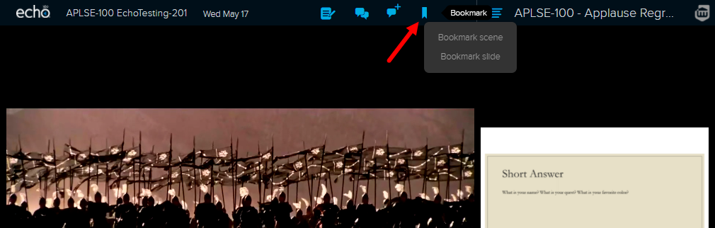student view with bookmark icon and options shown