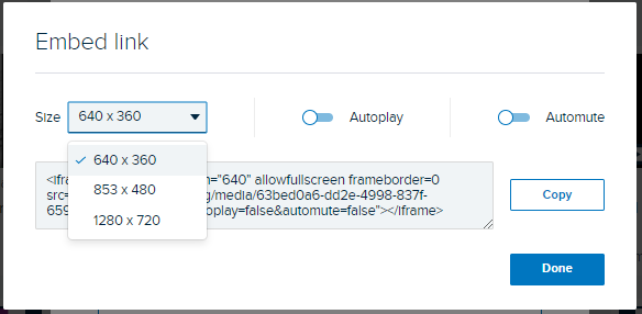 Embed link dialog box with Size options shown and embed code surrounding link URL as described