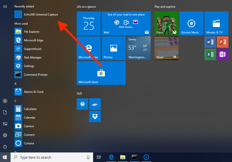 Windows Start menu with UC