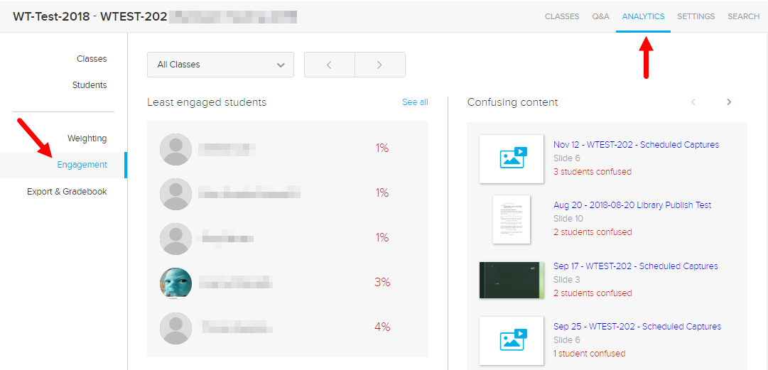 Engagement tab of the Analytics page showing least engaged students and confusing content as described