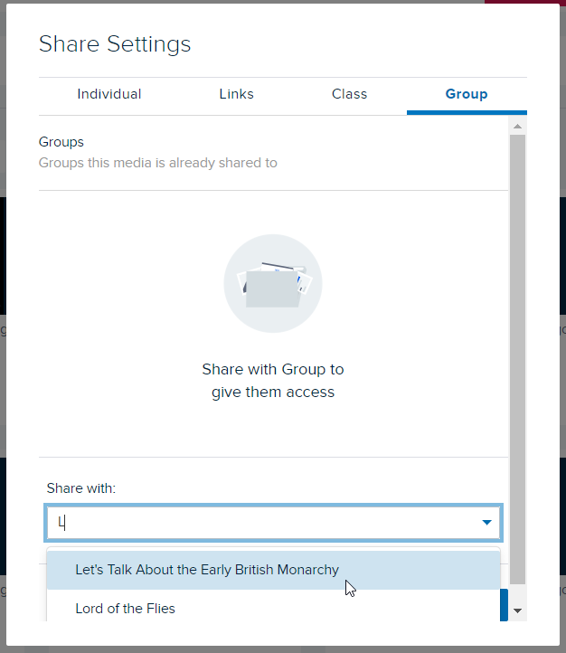 Share settings modal with text entered and matching groups shown for steps as described