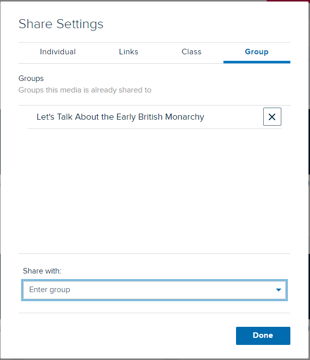 Share settings modal with selected group appearing in groups list as described