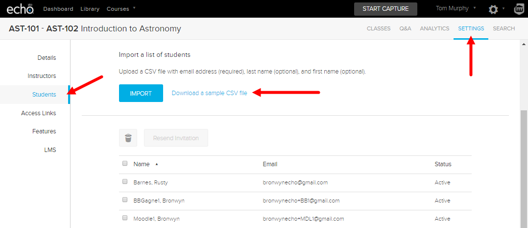 student section of section settings page with download sample link identified