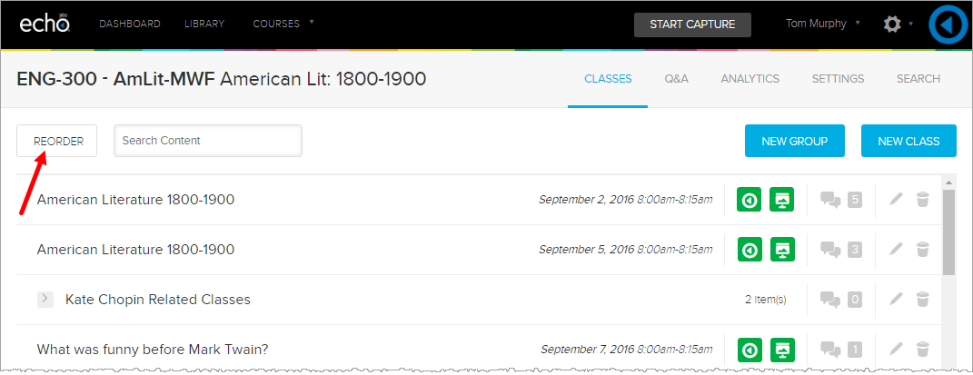 class list showing reorder button as described