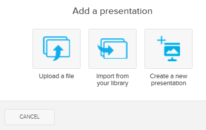 Add a presentation dialog box with options for steps as described