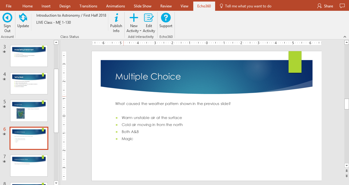 multiple choice activity slide showing in powerpoint