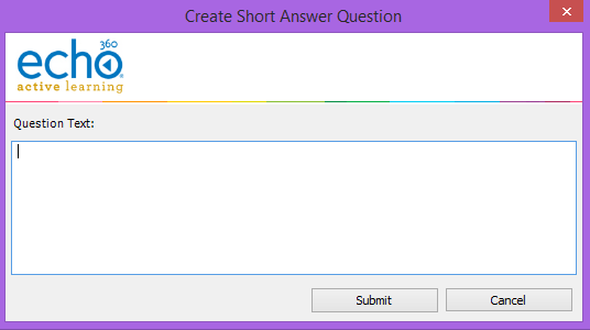 create short answer question dialog box as described
