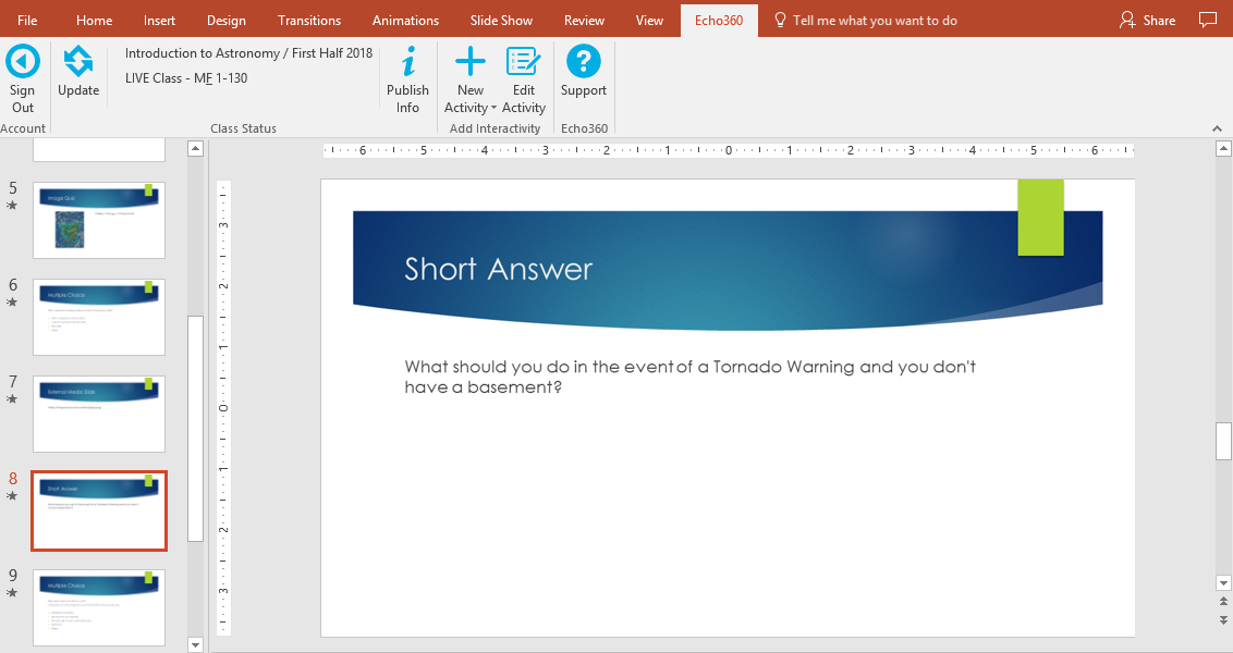 Short Answer activity shown in powerpoint as described