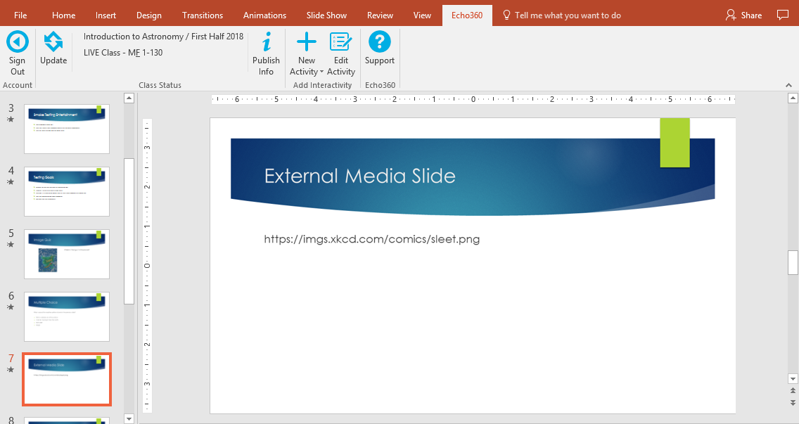 External media slide shown in powerpoint with embedded URL as described