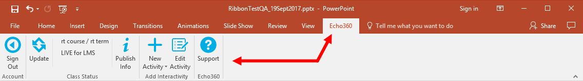 Powerpoint ribbon with activity slide open and edit activity button enabled as described