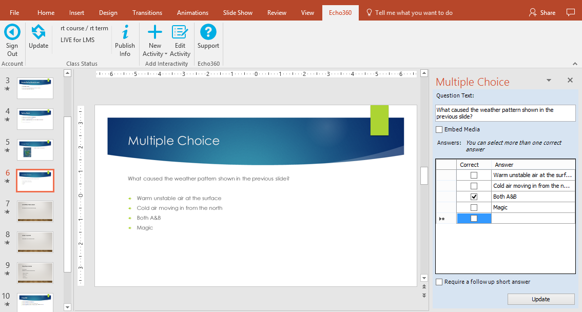 powerpoint showing activity slide and editing panel on the right as described