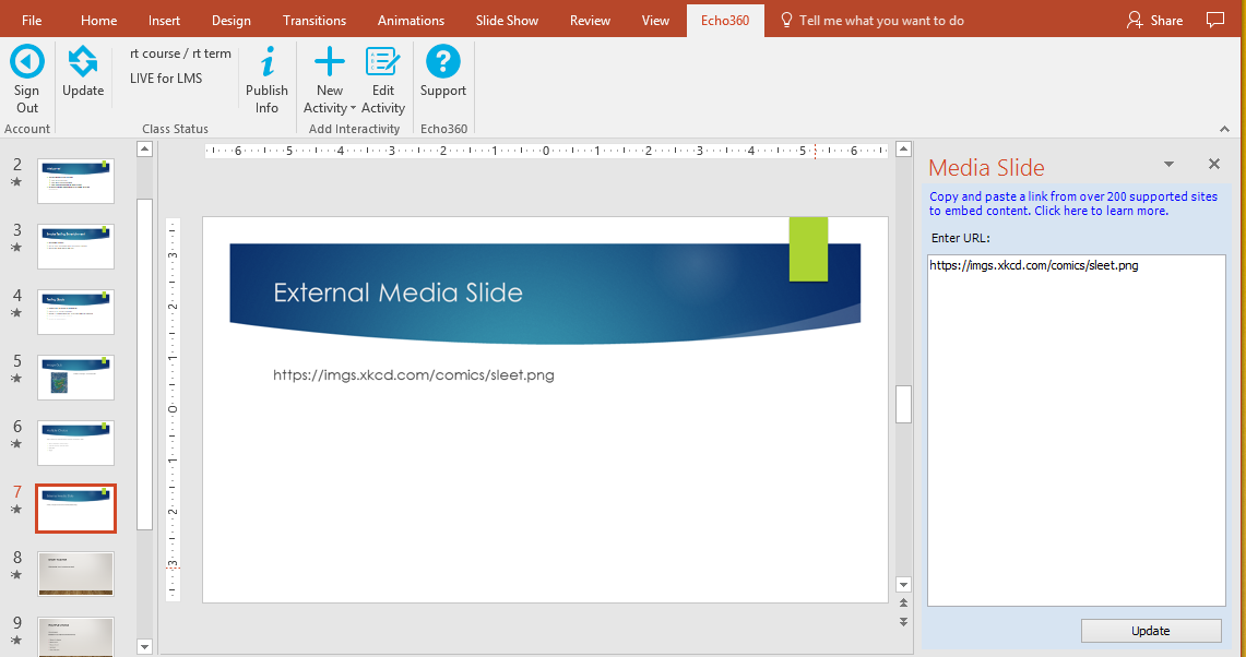 editing embedded media slide in powerpoint as described