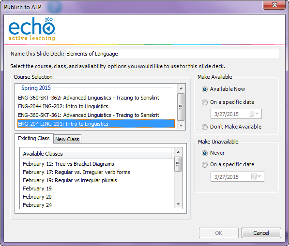 Publish to ALP dialog box with section and class configuration options as described