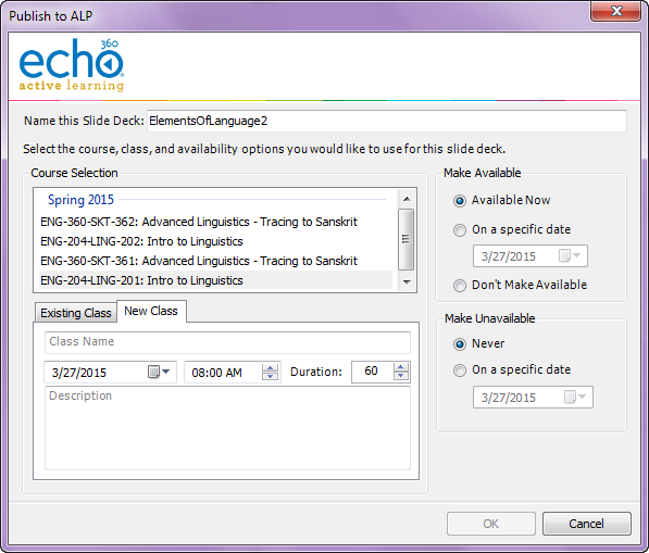 Publish to ALP dialog box showing the new class tab with fields as described