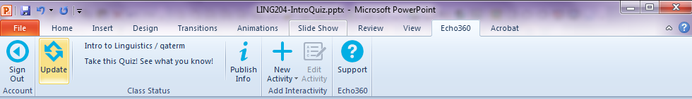 powerpoint ribbon with update button showing after publishing as described