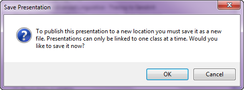 publish to new location dialog box prompting to save file as described