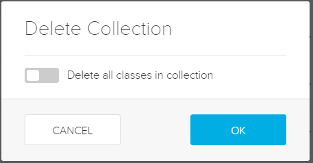 Message asking if you want to also delete the classes in the collection with toggle as described