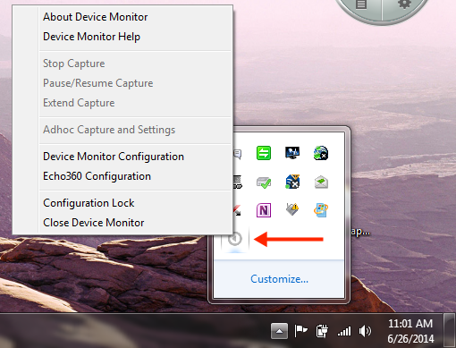 Device Monitor system tray menu as described