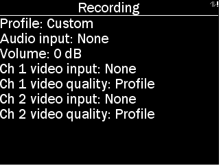 Recording menu of POD with options as described