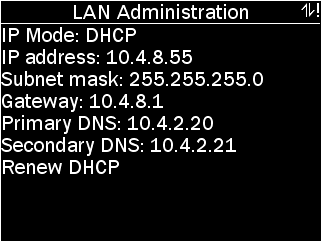 LAN Administration Menu with options as described