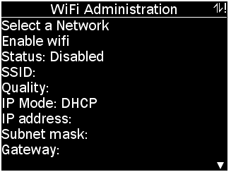 WiFi Administration menu with options as described