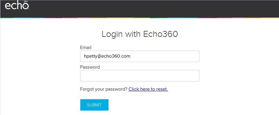 Echo360 login page as described