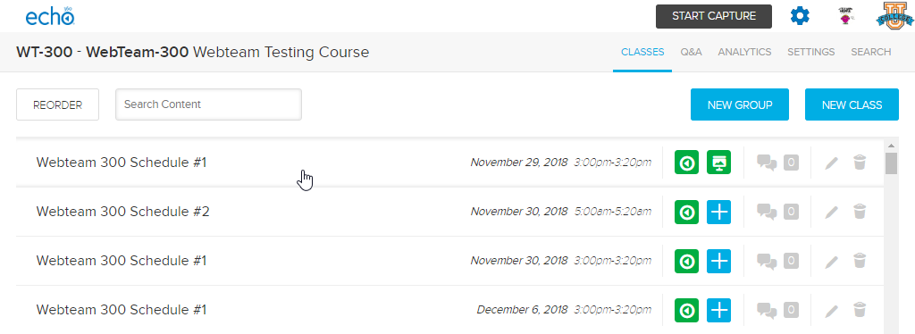 Class list page with pointer to a class to click to enter the classroom as described