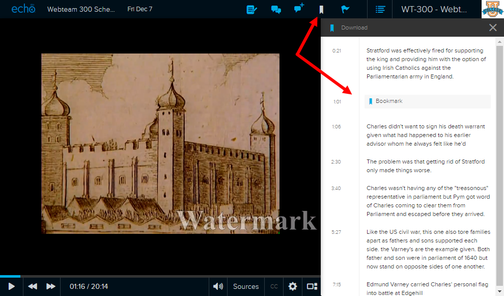Student classroom view with Bookmark icon and bookmark appearing in notes panel as described