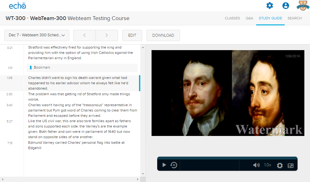 Study Guide tab with note selected and playback panel showing on the right
