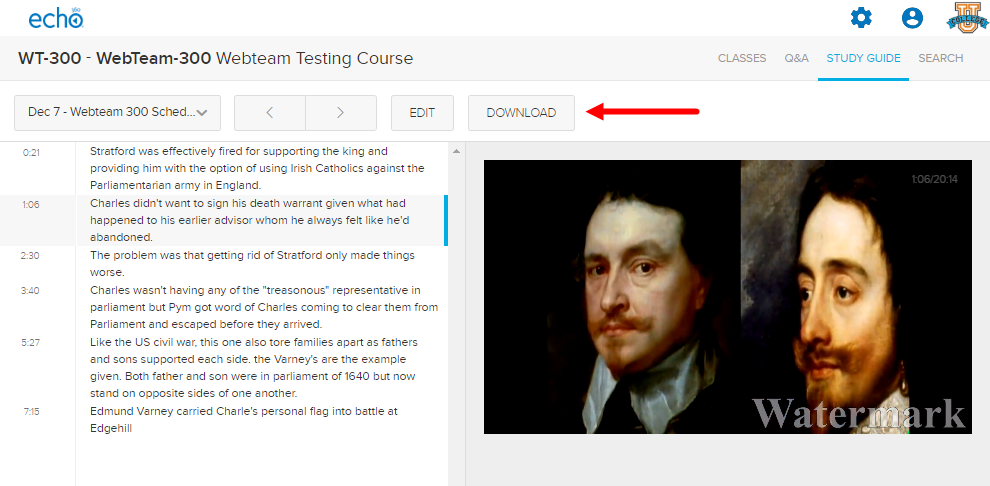 Study guide tab with class notes showing and Download button identified as described