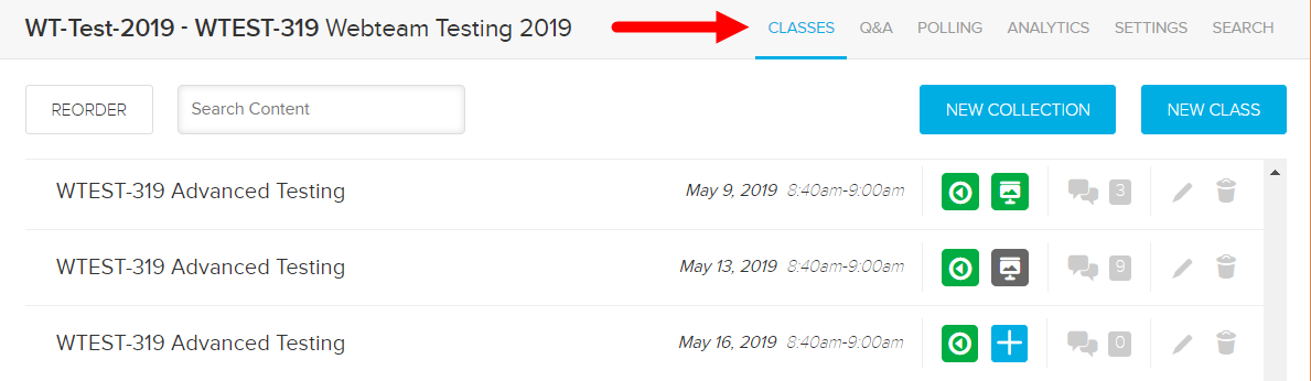 Instructor view of a course showing the classes tab with an arrow to other tabs as described