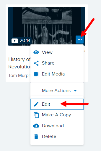 Content tile menu with Edit option for title and description identified for steps as described