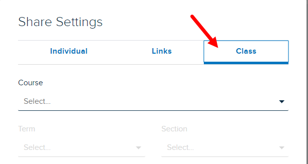 Share Settings modal with Class tab identified and selected as described