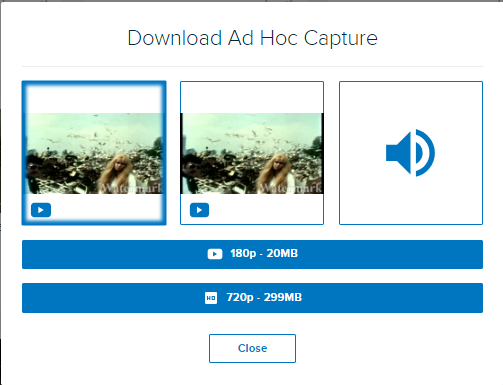 Choose your download dialog box for a dual video capture with options as described