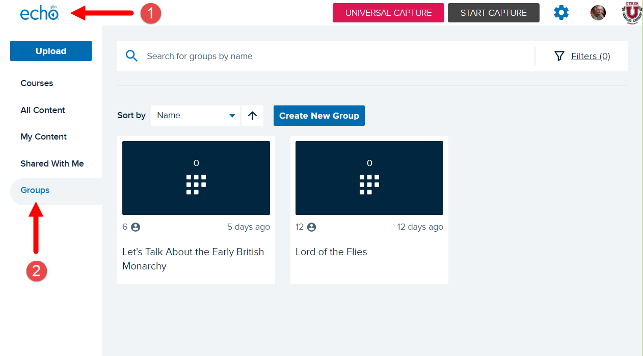 Groups home page with navigation identified for steps as described