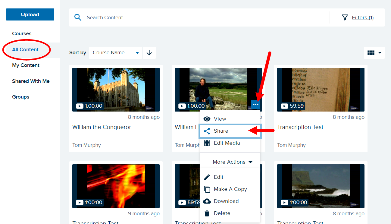 Content tile with menu button identified and Share option shown for steps as described