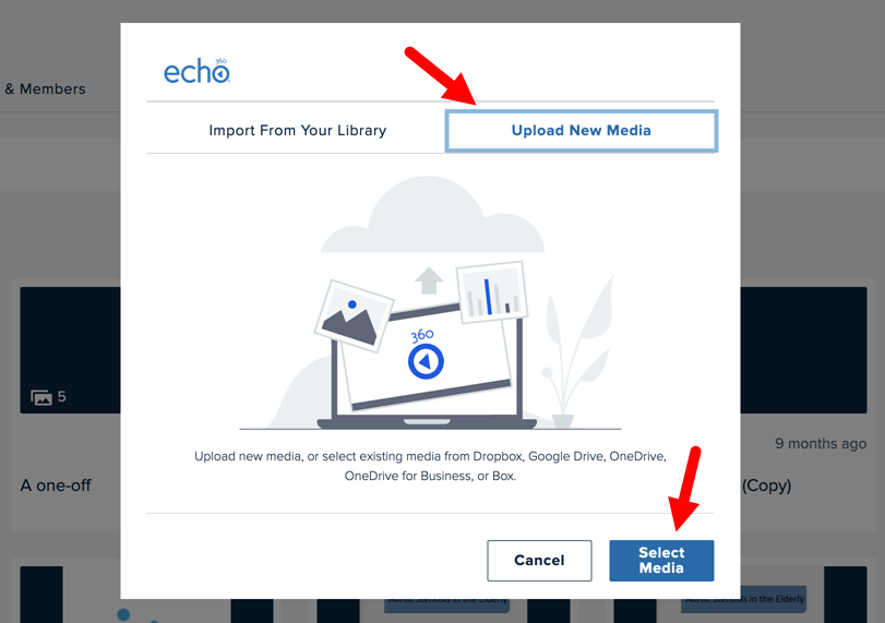 Add media to group dialog box with Upload New Media tab selected for steps as described