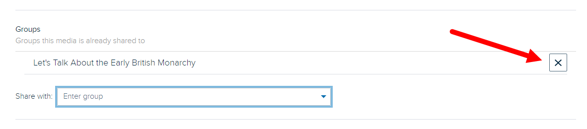 Remove from group X icon on the content details page as described