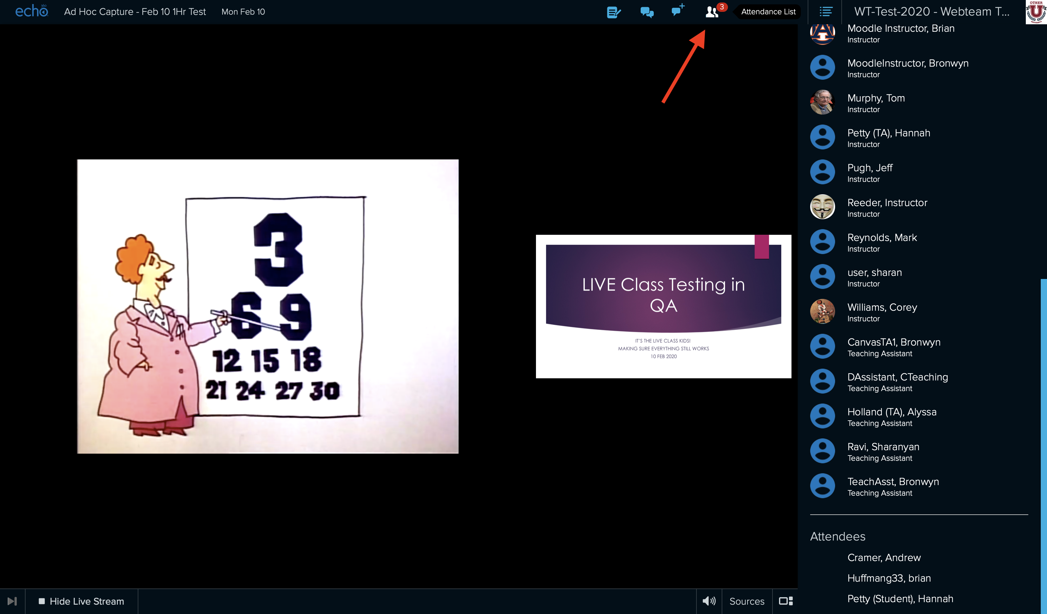 Live attendance button identified with panel open showing list of users viewing the stream